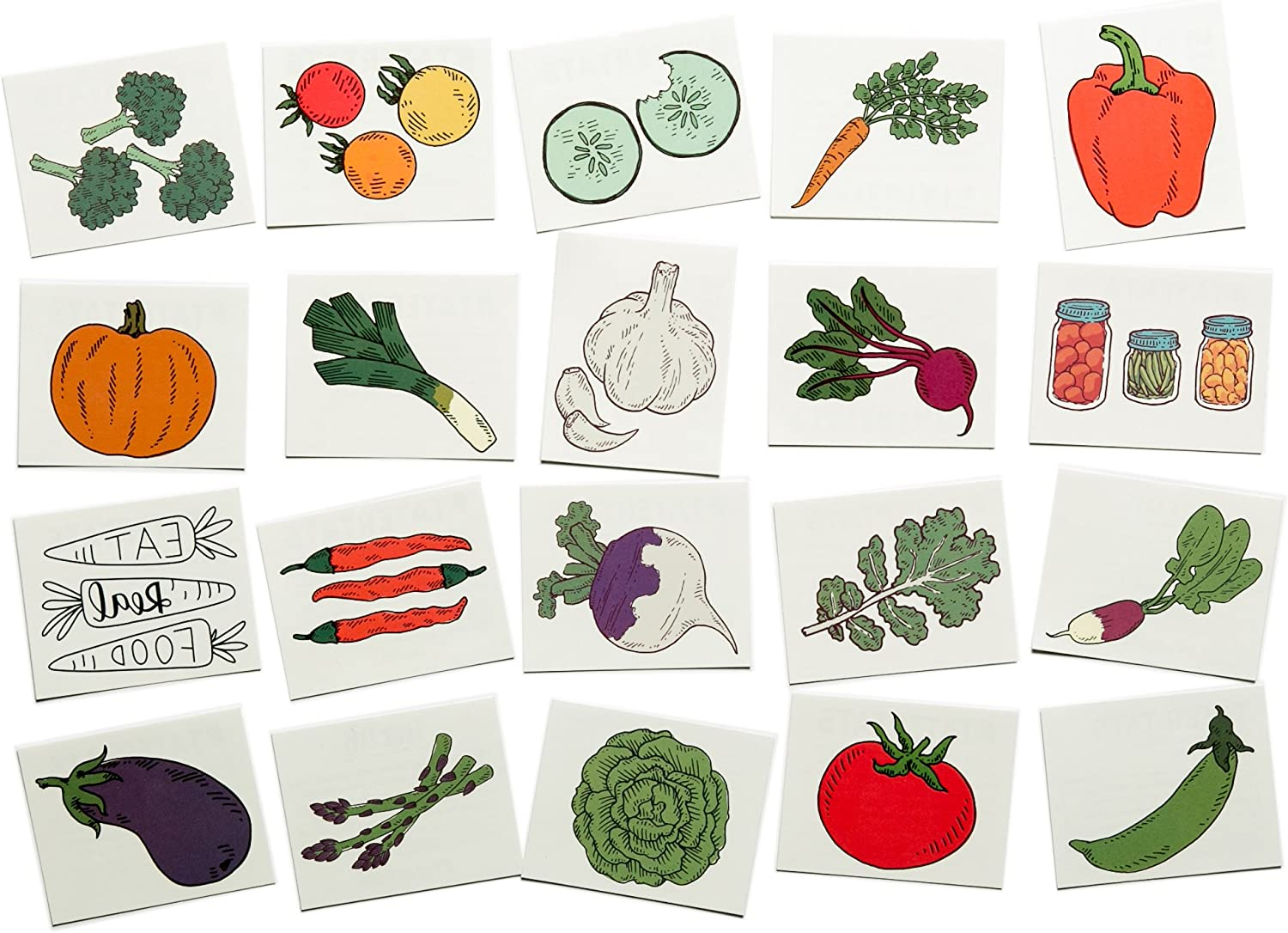 Tater Tats Veggie Lovers Pack: 20 Temporary Vegetable Tattoos