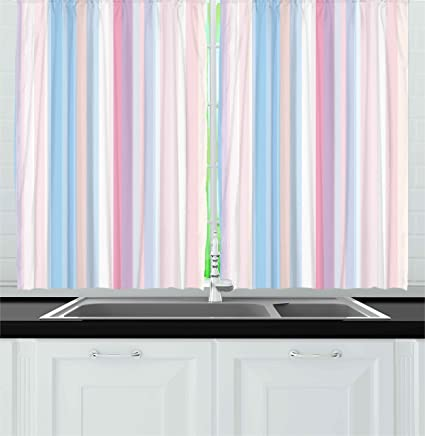 Abstract Kitchen Curtains By Ambesonne, Vertical Lined Soft Pastel Straight  Bands Line Stripes Geometric Print