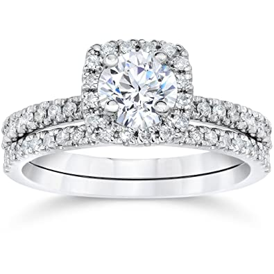 58 carat cushion halo diamond engagement wedding ring set white gold - Halo Wedding Ring Set