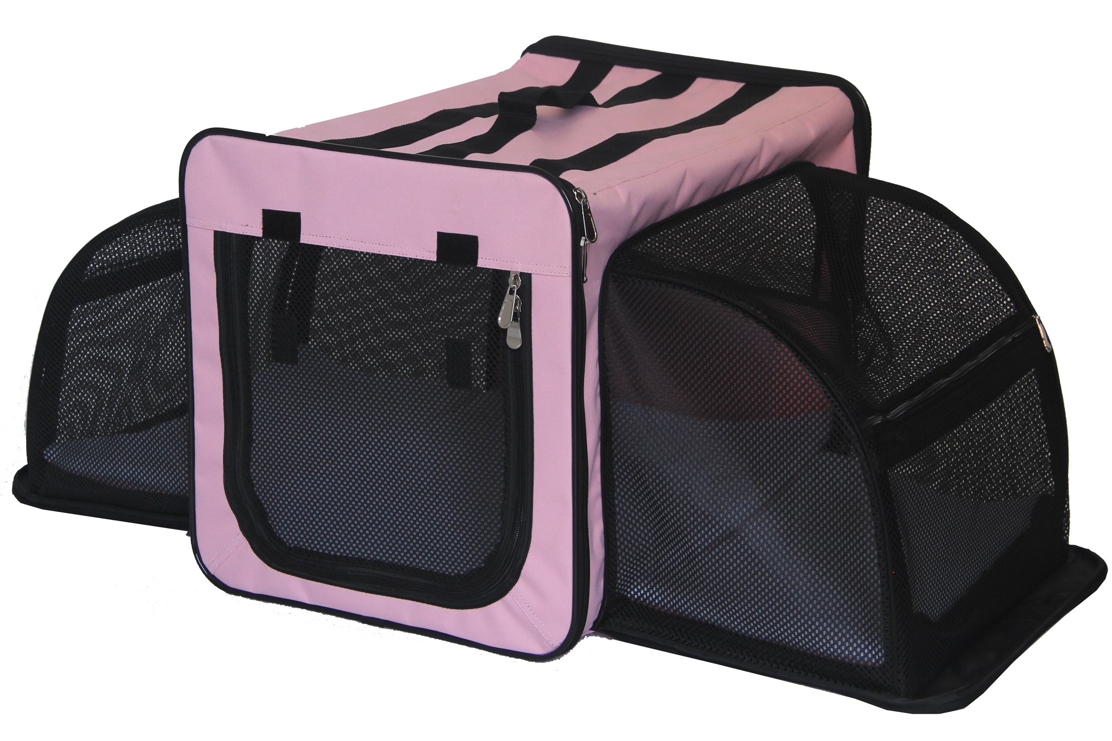 Pet Life Capacious' Dual-Sided Expandable Spacious Wire Folding Collapsible Lightweight Pet Dog Crate Carrier House, Large, Pink by Pet Life (Image #1)