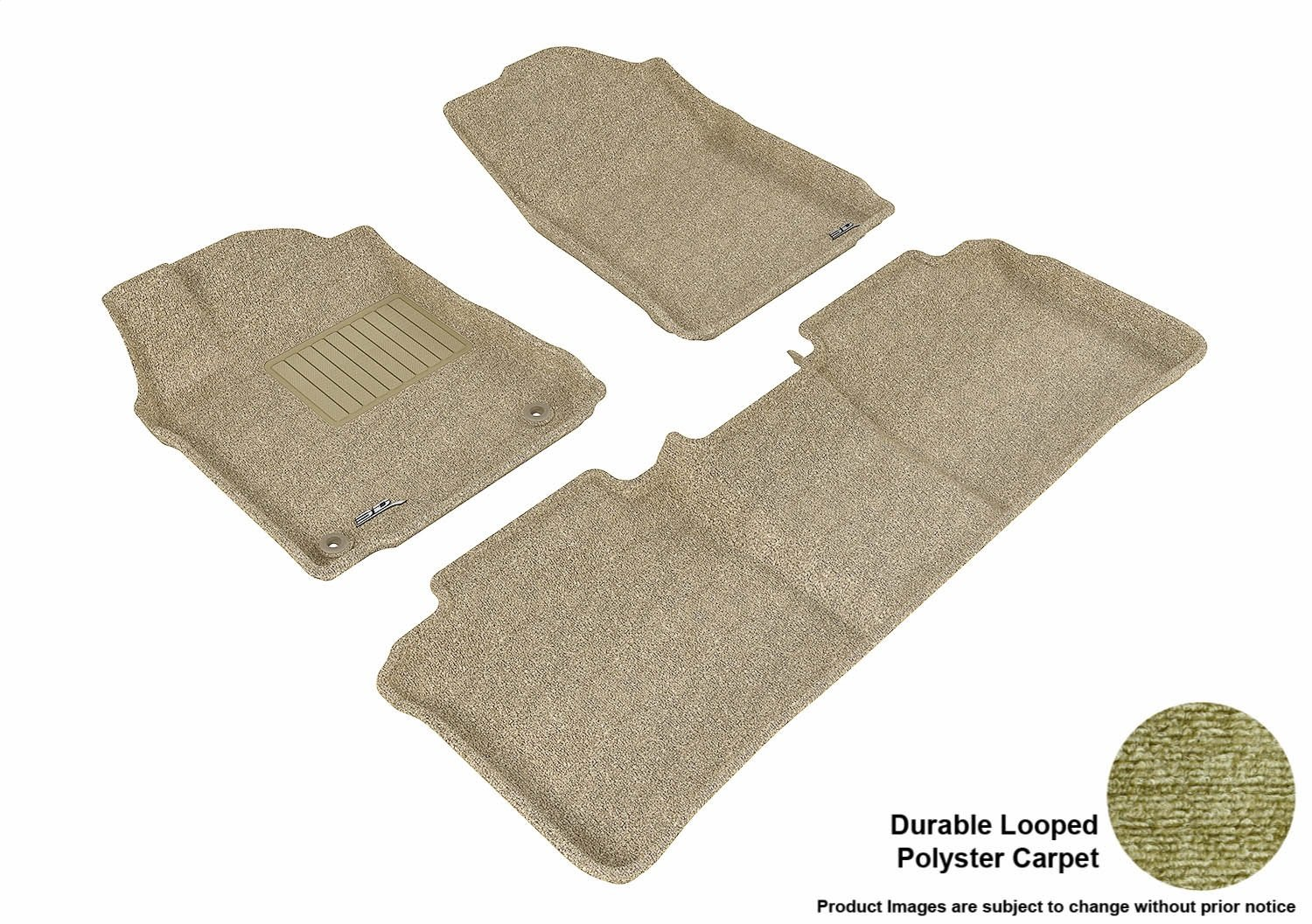 Tan 3D MAXpider L1TY13012202 Front Row Custom Fit Floor Mat for Select Toyota Avalon Models Classic Carpet