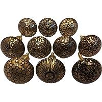 Set van 10 messing knoppen - keukenkast trekknoppen, kast, borst, meubels, ladehandgrepen - messing patroon knopen door…