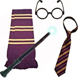 SCHOOL BOY WIZARD 4 PIECE SET. Long Scarf + Tie + Miraculous Magic Wand + Glasses