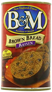 B&M Brown Bread with Raisins, 16-Ounce Cans (Pack of 6) by B&M