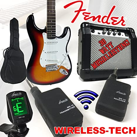 Fender Squier Bullet Strat guitarra eléctrica degradado Wireless con 30 W Amplificador y Sky Plug Wireless