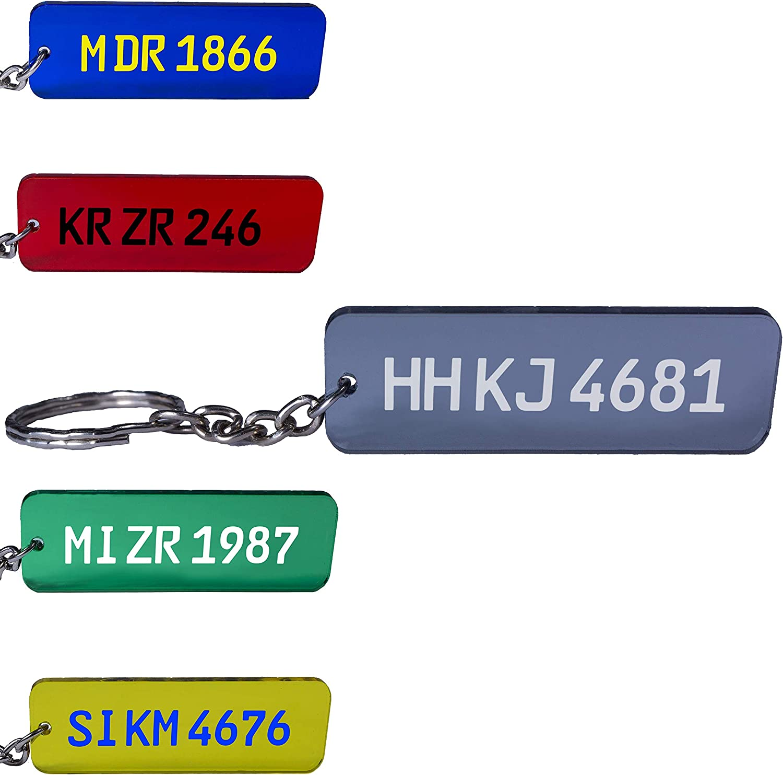 Kfz Kennzeichen Schlüsselanhänger Nummernschild Autoschild Personalisiert Individuell Farbig Gravur Auto