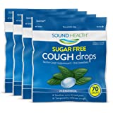 SoundHealth Sugar-Free Cough Drops, Cough Suppressant Throat Lozenge, Menthol, 70 Count Bag (Pack of 4)
