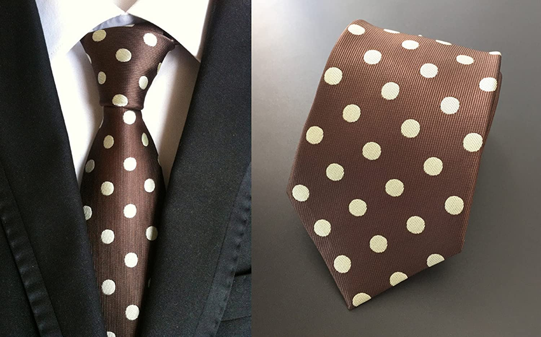 MENDENG New Design Styles Polka Dot Stripes Silk Ties NeckTies Business For Men