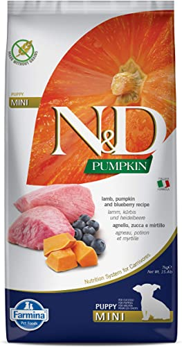 Farmina N D Dog Dry Puppy Grain Free Pumpkin Mini Lamb Blueberry 15.4 Pound