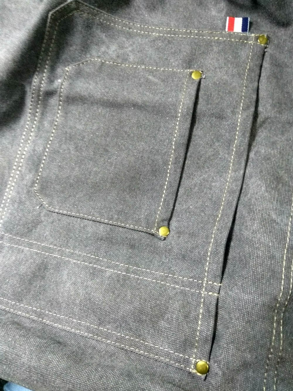 Luchuan Grey Denim Canvas Card Washed Over Wax Dry Apron Waxed Canvas Apron (37.4by 26.77inch)