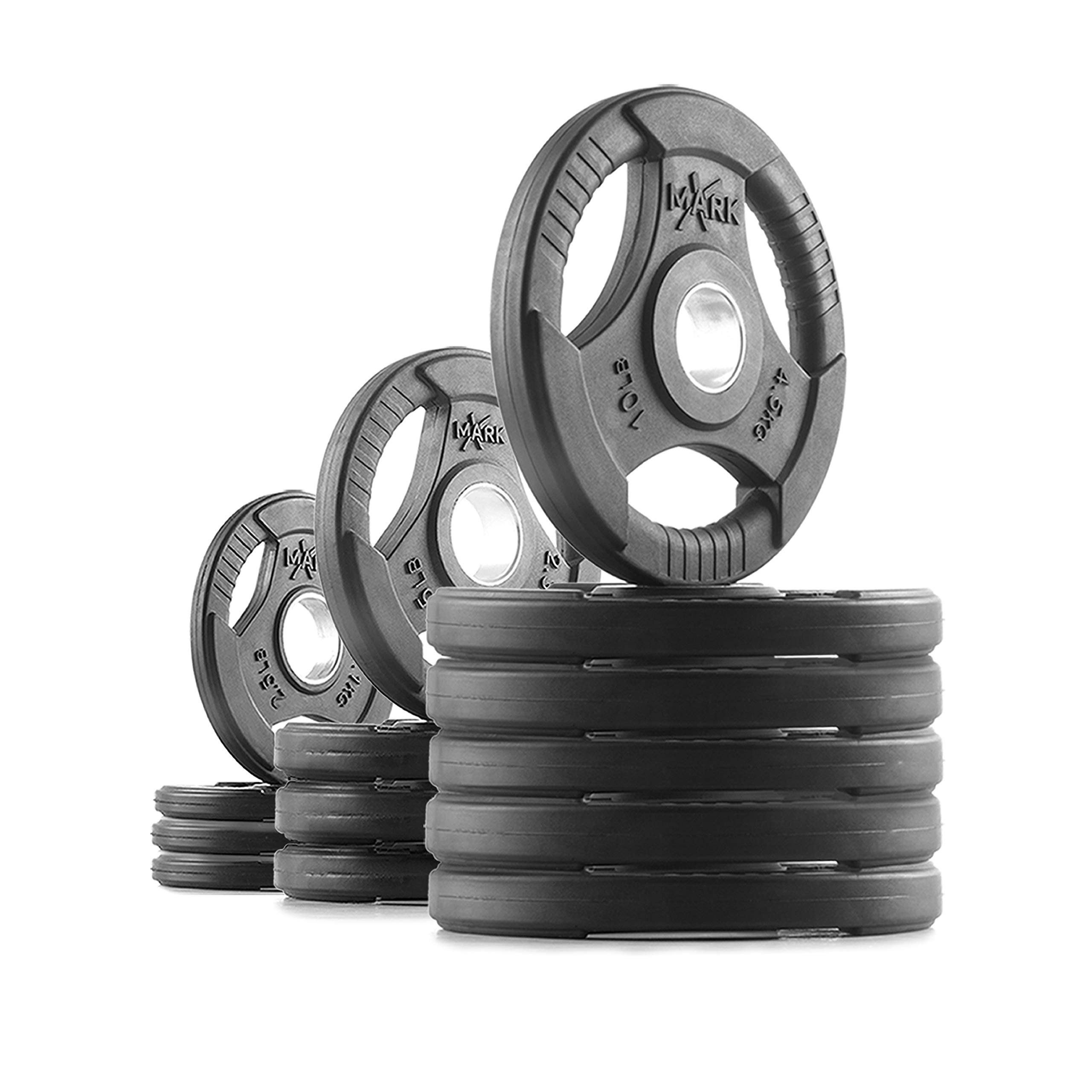 XMark TRI-Grip 90 lb Set Olympic Weights, Premium Rubber Coated Olympic Plates, One-Year Warranty by XMark Fitness (Image #1)