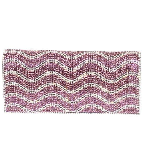 343895f65b Digabi Wavy Pattern Rhinestone Purses women Crystal Evening Clutch Bags  (One Size: 7.5X3