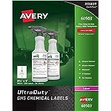 "Avery UltraDuty GHS Chemical Labels for Laser Printers, Waterproof, UV Resistant, 3.5"" x 5"", 200 Pack (60503)"