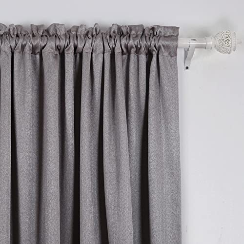 Deconovo-Rod Pocket Panels Solid Thermal Insulated Blackout Texture Stripe Embossed Top Curtains - a good cheap window curtain panel