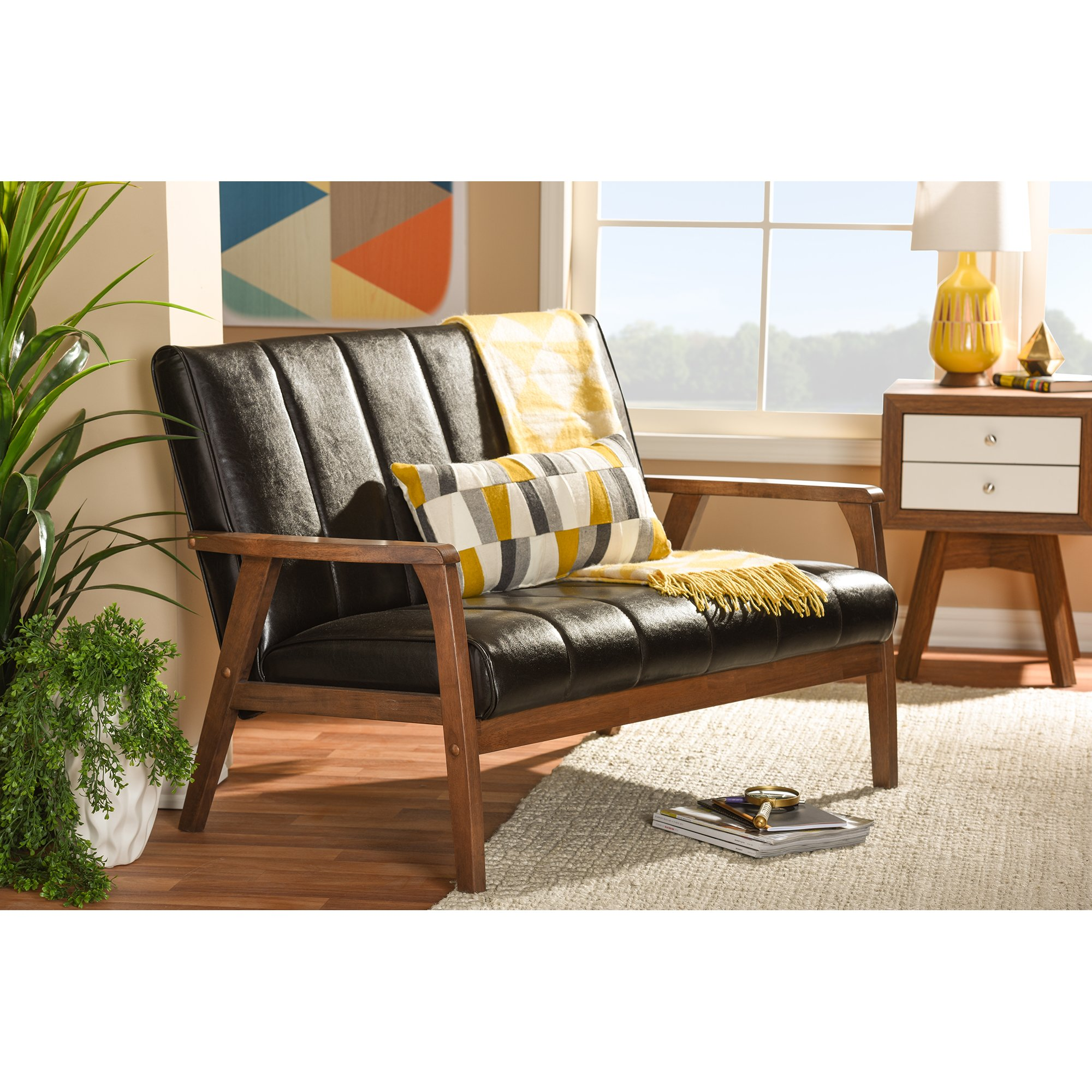 Baxton Studio Nikko Mid-century Modern Scandinavian Style Dark Brown Faux Leather Wooden 2-Seater Loveseat by Baxton Furniture Studios (Image #5)