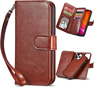 XRPow Case for iPhone 12/12 Pro [2 in 1] Magnetic Detachable Wallet Case [PU Leather] Folio Flip [9 Card Slot] [Wrist Strap] Durable Protection Back Cover for iPhone 12/12 Pro 6.1