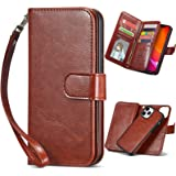 XRPow Compatible with iPhone 12 Pro Max [2 in 1] Magnetic Detachable Wallet Case [PU Leather] Folio Flip [9 Card Slot] [Wrist