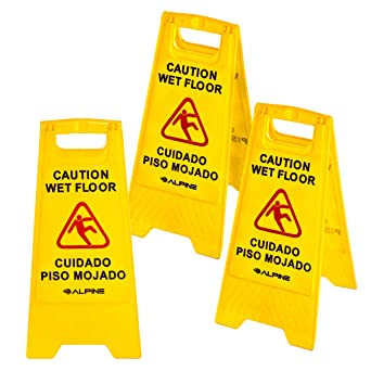 Alpine Industries 24-Inch Caution Wet Floor Sign - 3 Pack A-Frame Bright Yellow Warning Sign - Sturdy Double Sided Fold Out Bilingual Floor Safety ...
