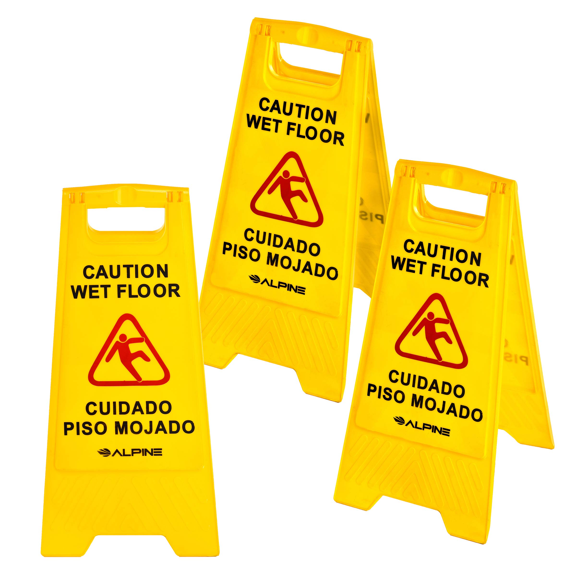 Alpine Industries 24'' Caution Wet Floor Sign Yellow - 3 Pack
