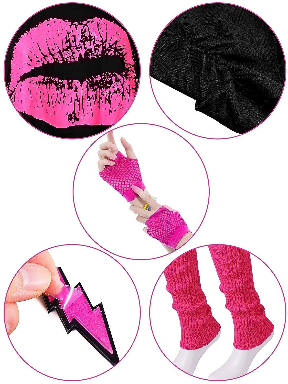 T-Shirt Lippenprint Erwachsener Tutu Rock Spitzen Stirnband Neon Ohrringe Halskette Beinlinge Netz Handschuhe Armband Blulu 80 Jahre Kost/üm Zubeh/ör f/ür Damen Set M