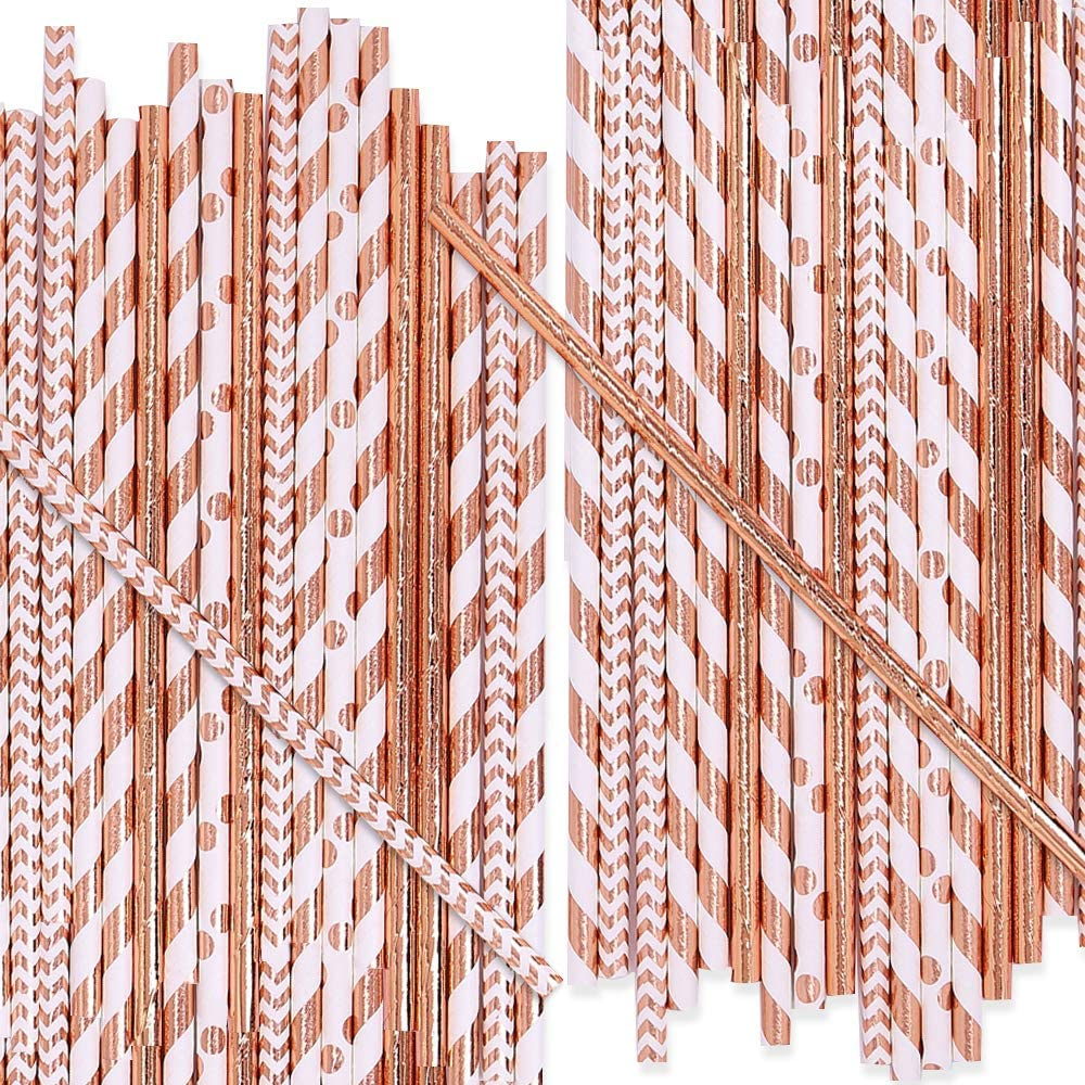 UNIQOOO 125Pcs Rose Gold Drinking Paper Straws,Biodegradable Disposable,4 Assorted Design,Pink Metallic Foiled Polka Dots,Chevron Strips For Wedding Baby Shower Party Cake Pop Decor 7.75 Inch/0.2Dia