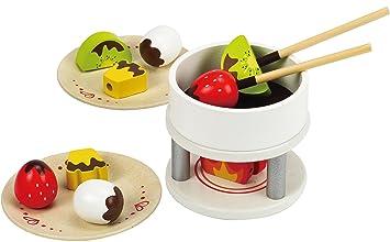 Amazon Com Hape Chocolate Fondue Kid S Wooden Play Kitchen Food