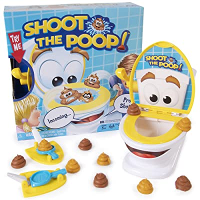 Maya Games Shoot The Poop - Funny Family Game - Fast and Frenzied Flushing Poop Game for Kids - Includes Talking Toilet Bowl, Dexterity Launchers, 12 Soft Plastic Poops: Toys & Games