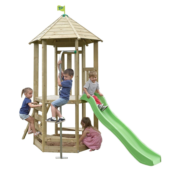 Holz-Spielgerüst (Castlewood Tower) mit Wellenrutsche, integrierter ...