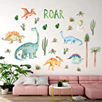 Watercolor Dinosaur Wall Decals, Animals Tree Wall Stickers for Nursery Living Room Bedroom Decor, Dinosaur Wall Decal…