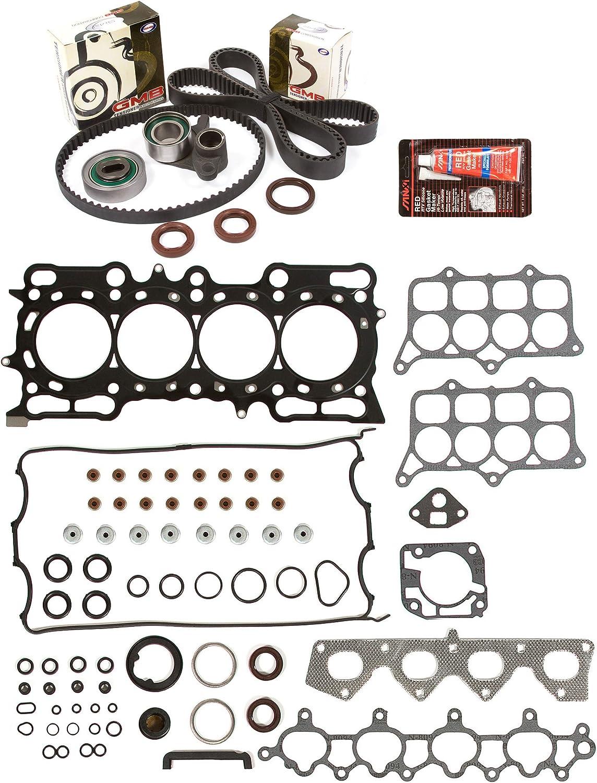 Evergreen HSTBK4017 Head Gasket Set Timing Belt Kit Fits 97-01 Honda Prelude 2.2L DOHC 16v H22A4
