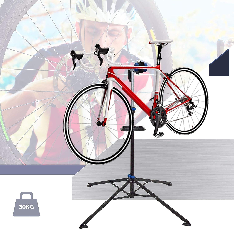 Ultrasport Caballete para Bicicleta para Reparaciones en Todos los Modelos de Bicicletas Caballete de Montaje Estable Bandeja de Herramientas magn/ética Tensor Quicklock m/áx 30 kg