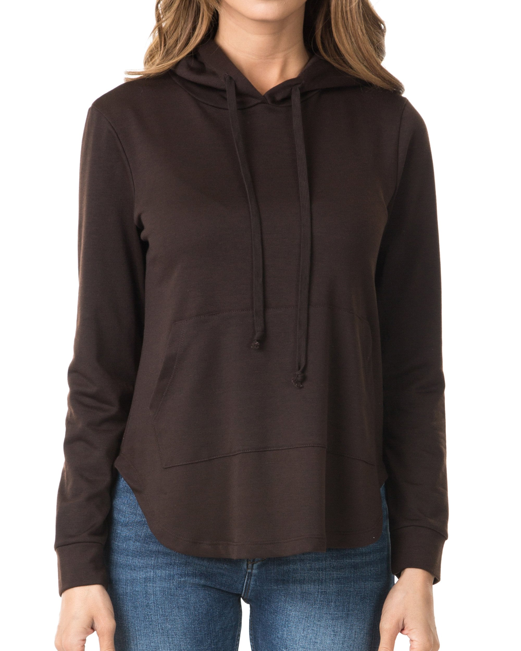 Nolabel B7_023 Women's Long Sleeve Pullover French Terry Drawstring Hoodie Sweatshirt (Brown/XL)