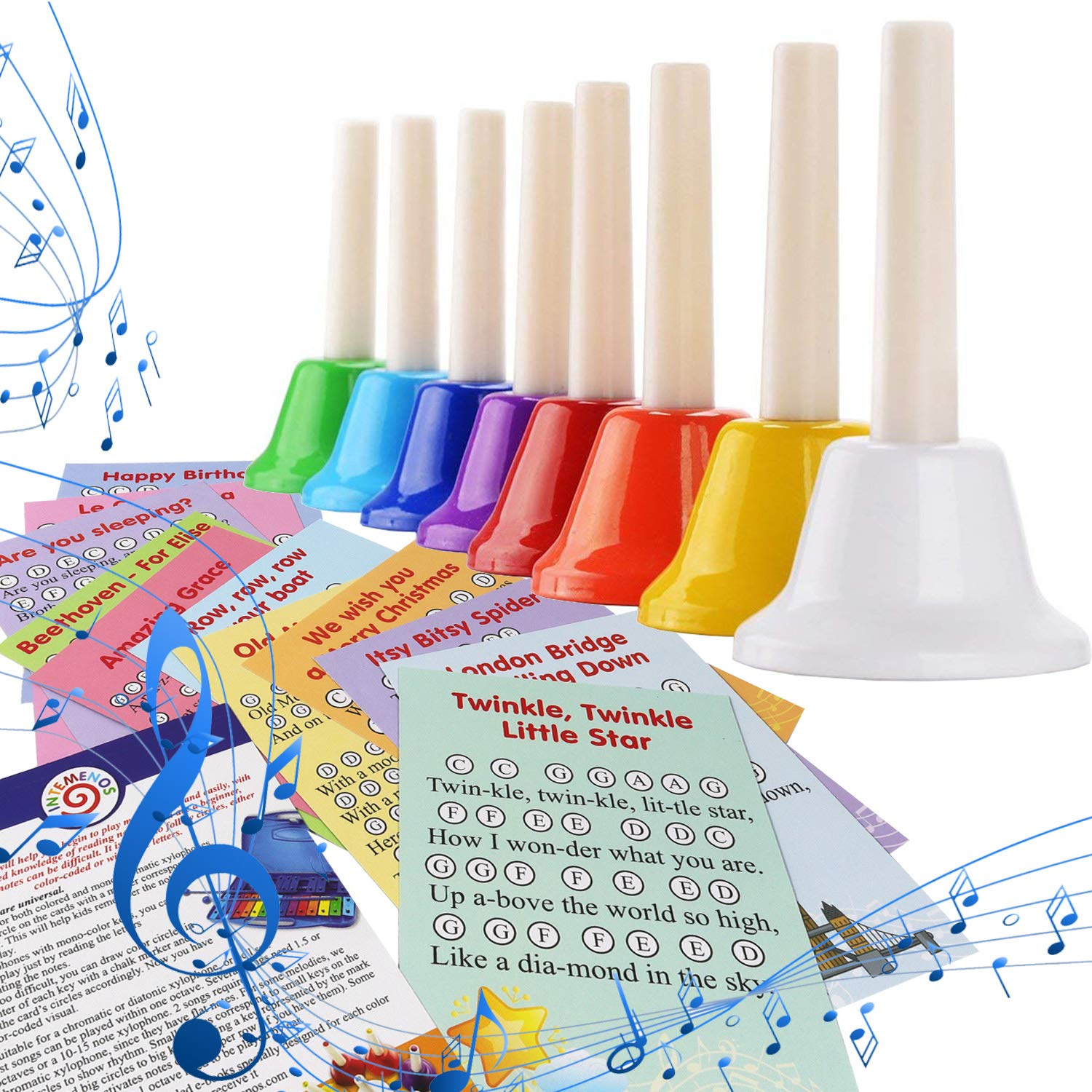 Musical HandBells For Children, Adult, Seniors 8 Note Color-Coded Diatonic Metal Hand Bells Sheet Music Songs included by inTemenos (Image #9)