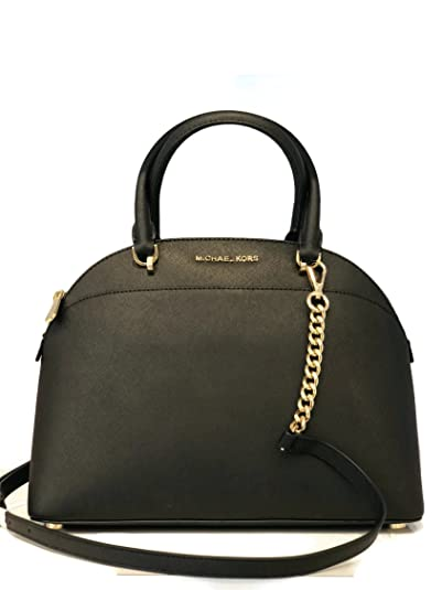 ec9146a43b42 ... authentic michael michael kors large dome emmy saffiano leather satchel  shoulder handbag black ed565 49603