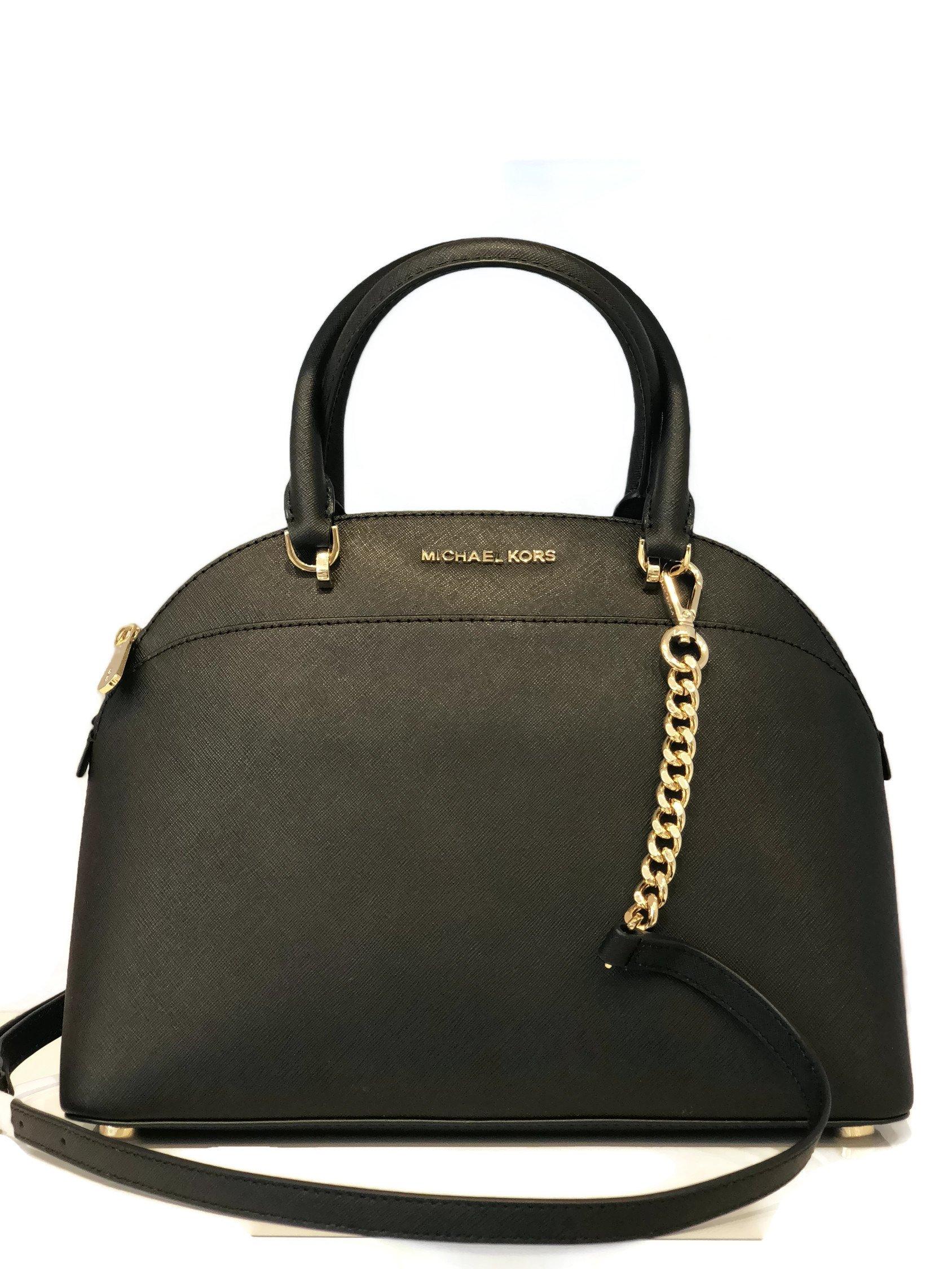 MICHAEL Michael Kors Large Dome Emmy Saffiano Leather Satchel Shoulder Handbag - Black