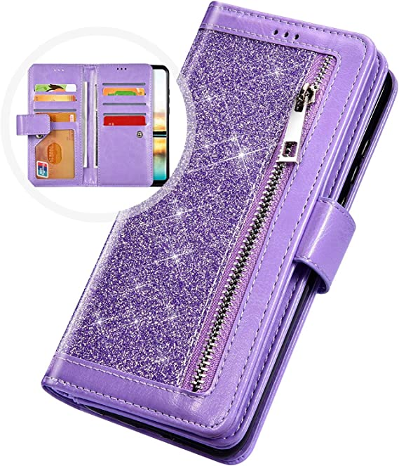 Gold Glitter Wallet Case for Samsung Galaxy A20//A30 with Wrist Strap,QFFUN Luxury Bling Magnetic Closure Folio Stand Feature PU Leather Phone Cases Flip Cover Bumper and Screen Protector