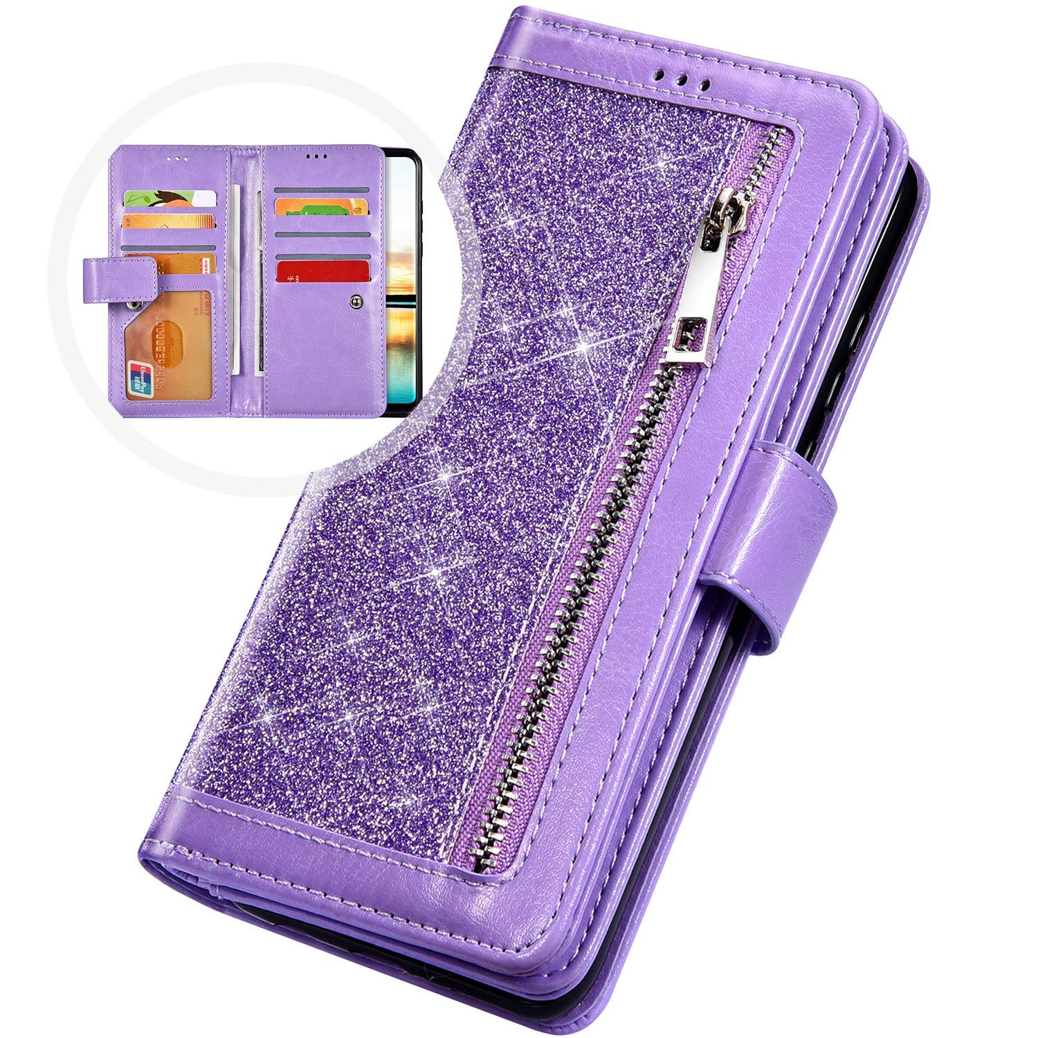 PHEZEN Case for Samsung Galaxy A50 Wallet Case,Sparkle Bling Glitter PU Leather Magnetic Flip Folio Protective Case Multi-Function 9 Credit Card Holders with Zipper Coins Purse Cover,Purple by PHEZEN