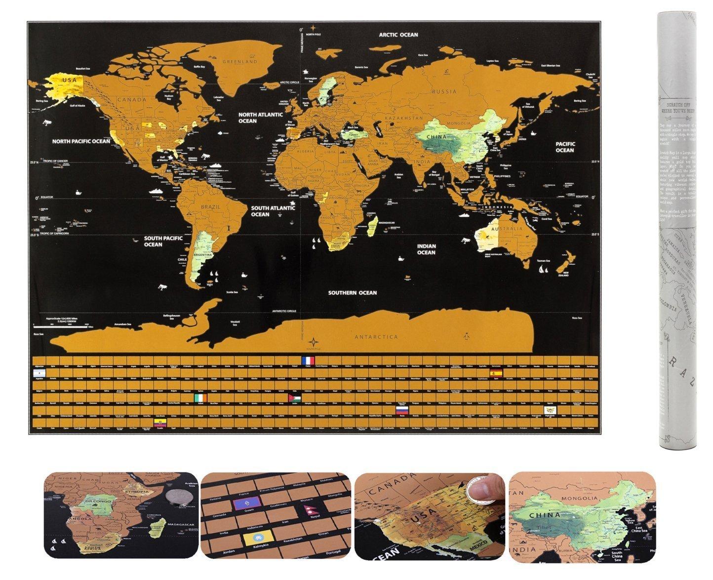 Carte du monde à gratter détaillée avec drapeaux - Carte XXL murale noire et dorée de 82,5*59,4 cm – Cadeau parfait pour les voyageurs - Kit essentiel pastilles adhésives + médiator pour gratter offert Travelerwit