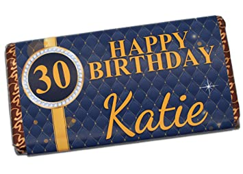 Personalised Happy Birthday 114g Milk Chocolate Bar 18th 21st 30th 40th 50th Gift Present
