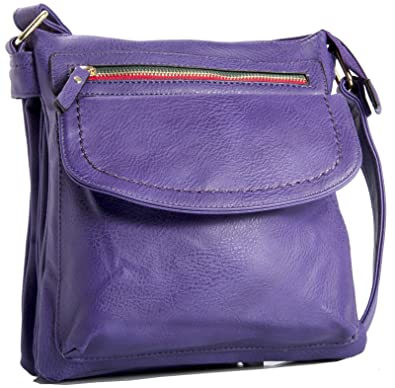 Big Handbag Shop Womens Medium Multipocket Vegan Leather Messenger Cross  Body Shoulder Bag (Lavender) 4a7c774214