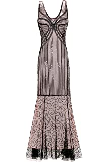 Metme Womens Roaring 1920s Gatsby Sleeveless Sequined Beaded Long Flapper Dress for Prom