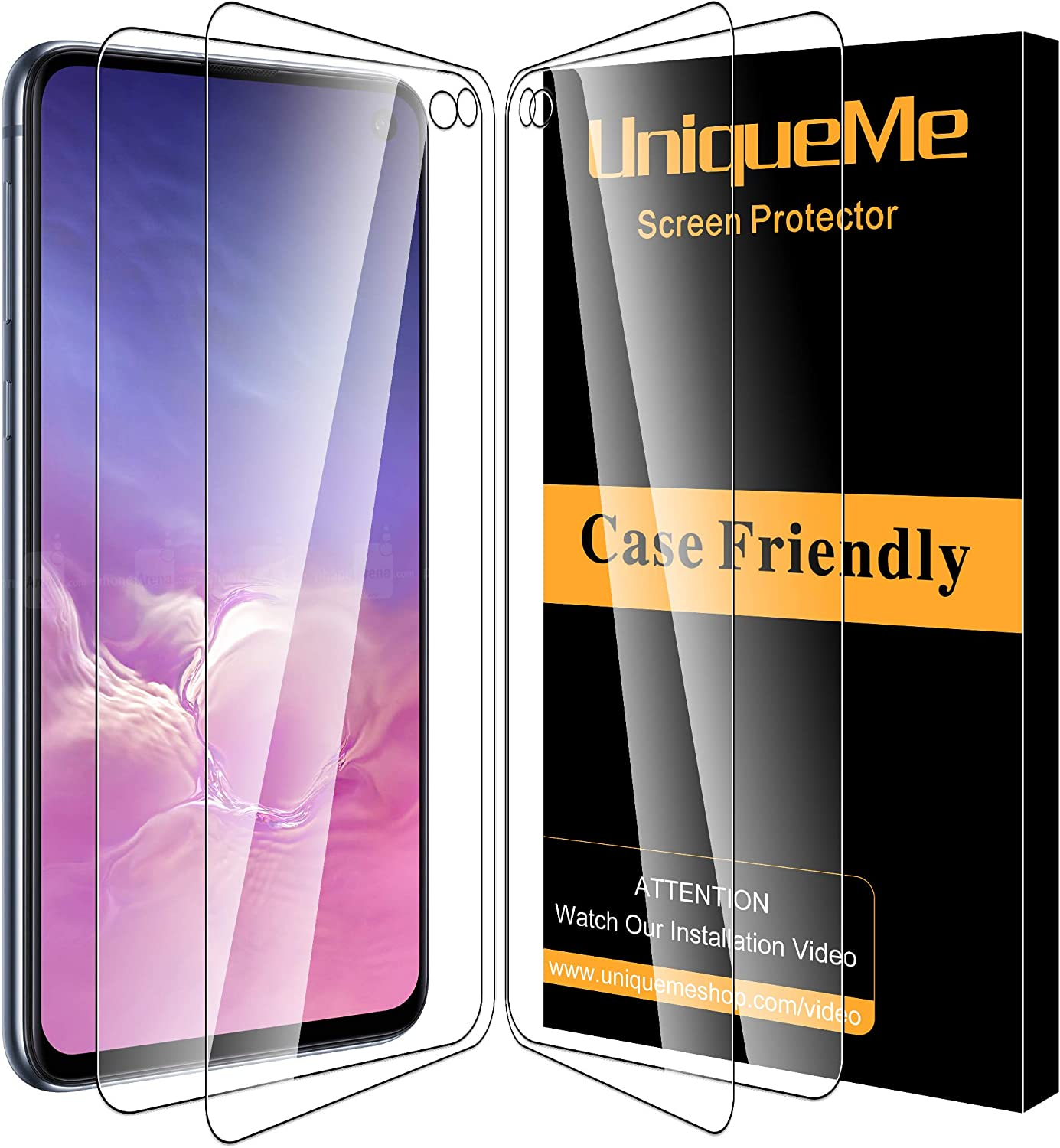 Case Friendly LK 3 Pack Full Coverage Double Defence Tempered Glass with Lifetime Replacement Warranty Screen Protector for Samsung Galaxy S10e,