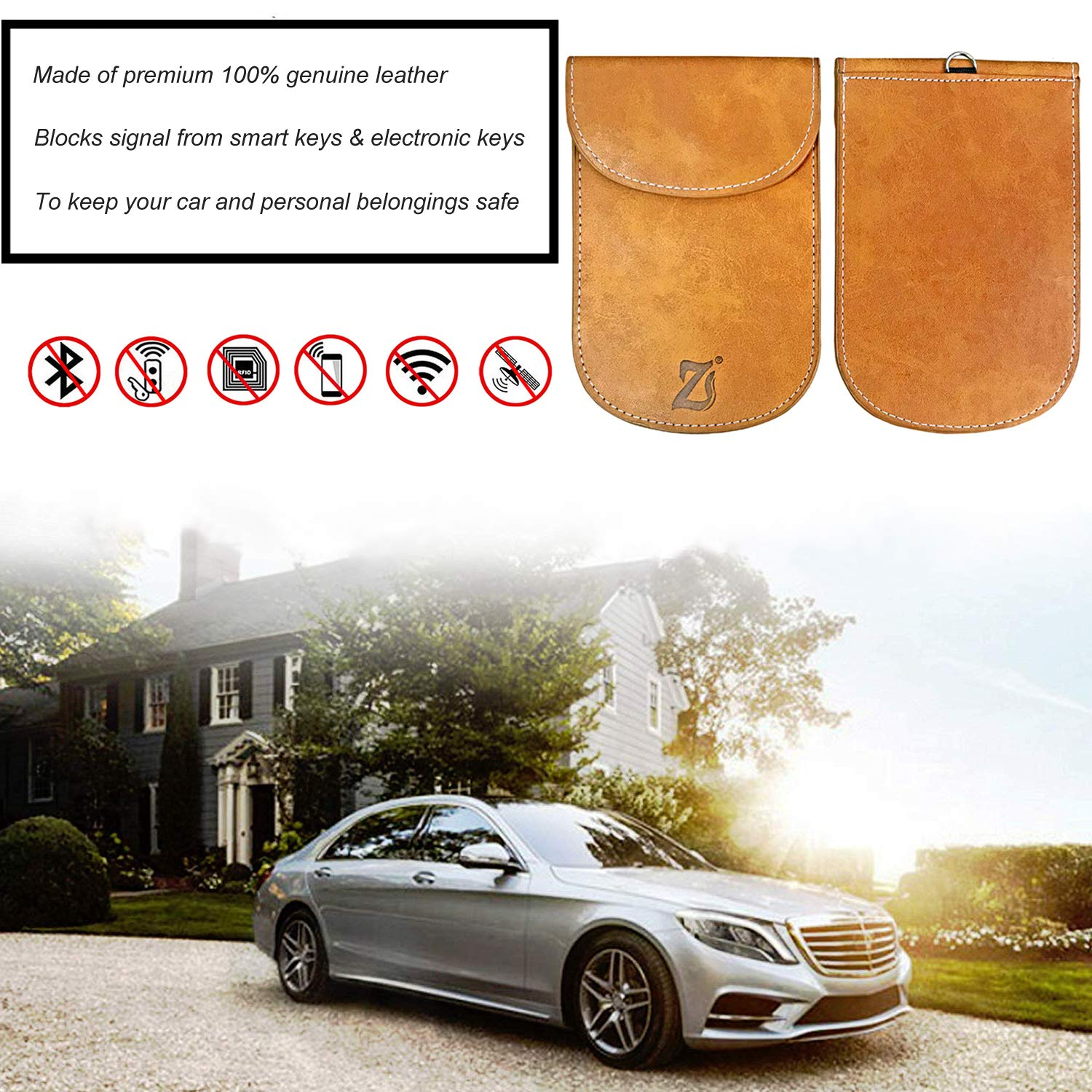 Leather Upgraded Faraday Bag for Key Fob Car Key Protector Signal Blocker Case Keyless Entry Fob Guard Anti-Radiation Pouch RFID Signal Blocking Anti-Hacking Case Blocker Anti-Theft Pouch