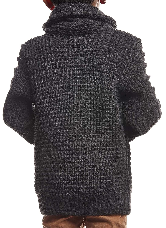 Maglione Invernale da Bambino Colore: Nero con Collo Sciallato a Maniche Lunghe Leif Nelson Cardigan LN5585K