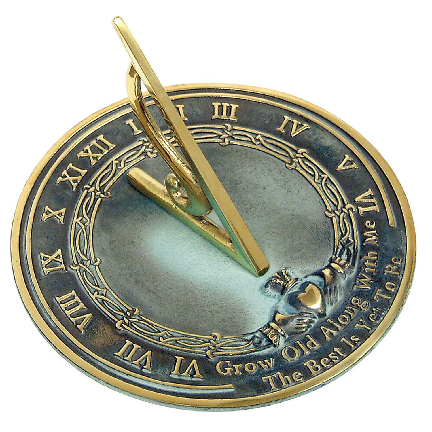 Rome RM2308 Brass Sundial ''Grow Old With Me''
