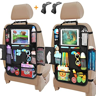 Car Organizer Back Seat, Backseat Car Organizer with Touchable Tablet Holder+12 Storage Pockets | 2 Bonus Hooks | 2 Earphone Hole Design, Kick Mats Protector Travel Accessories for Kids (2 Pack): Baby