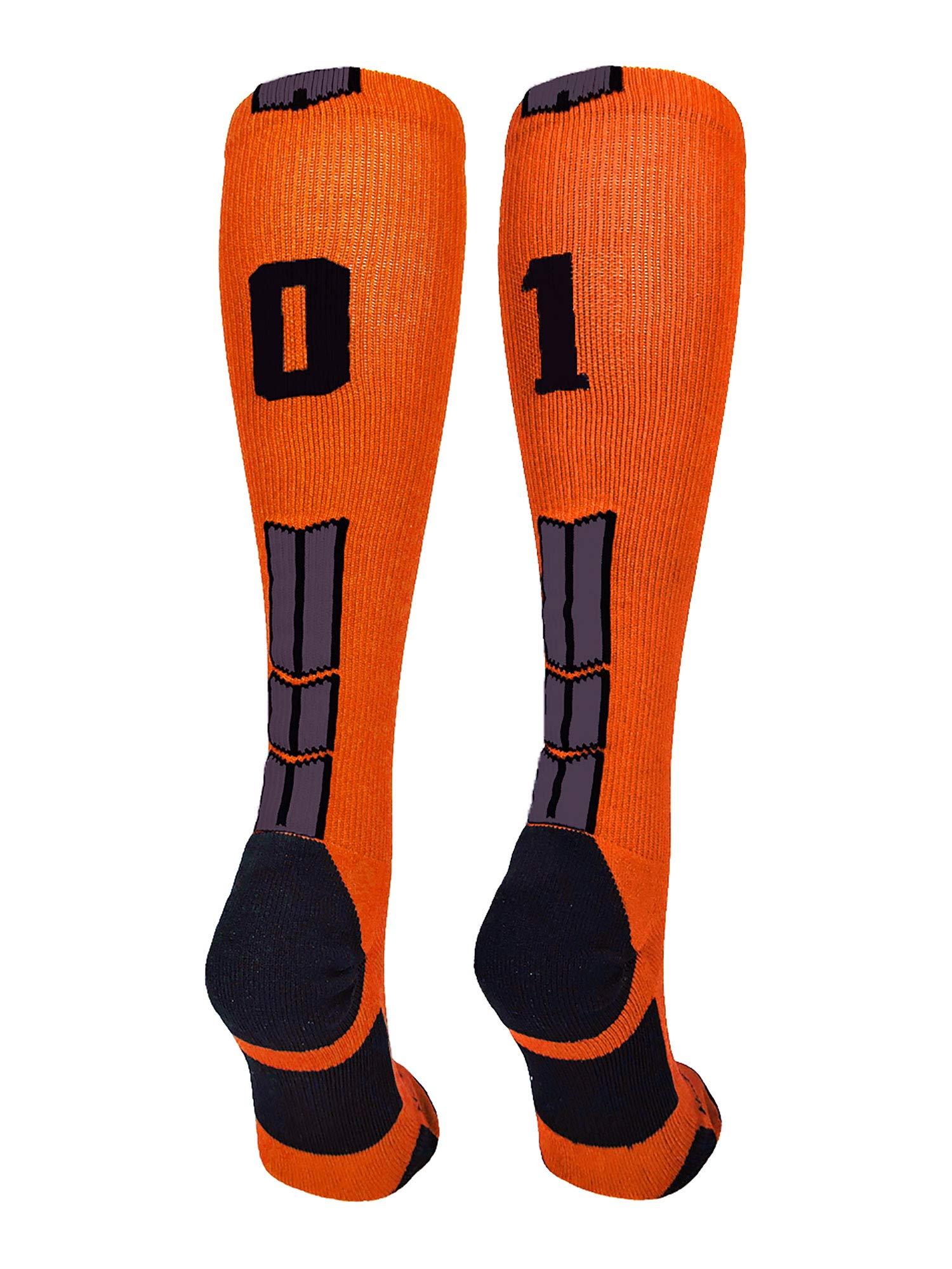MadSportsStuff Orange/Black Player Id Over the Calf Number Socks (#01, Small)