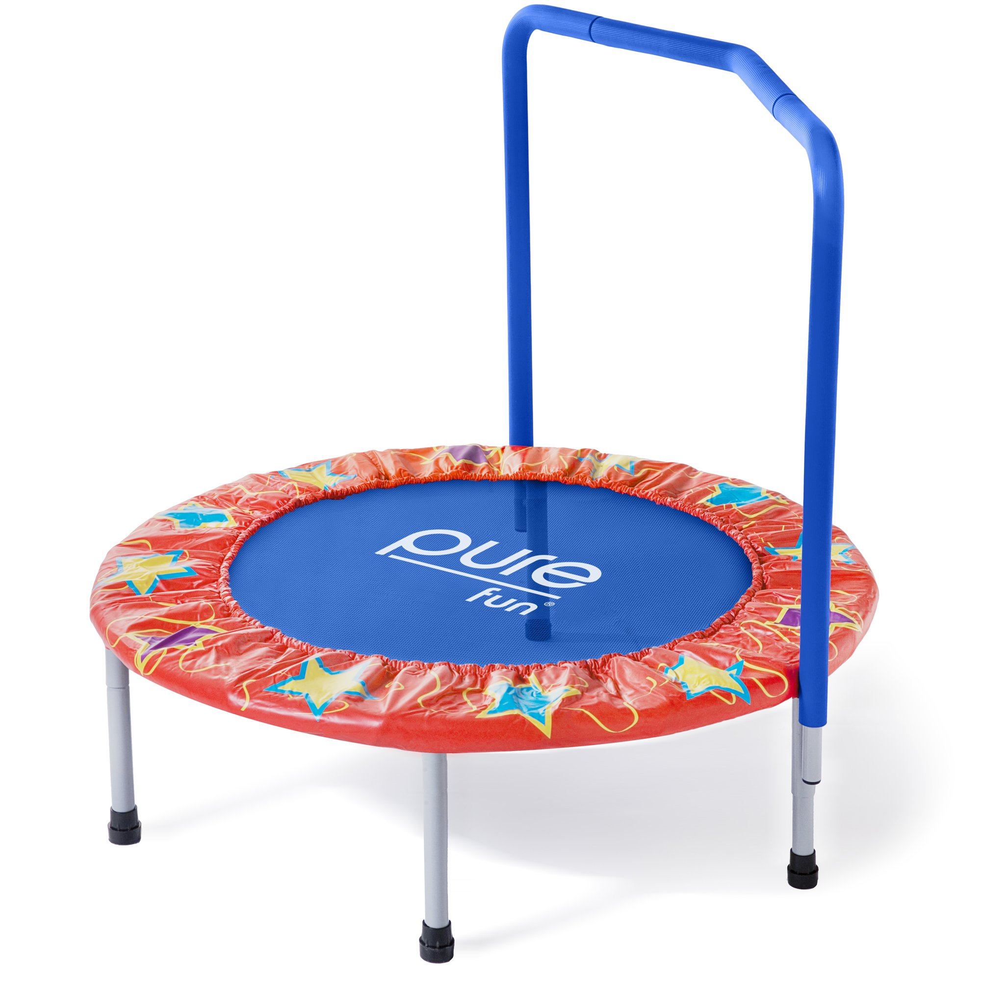 Pure Fun Kids 36'' Mini Trampoline with Handrail, Youth Ages 3 to 8