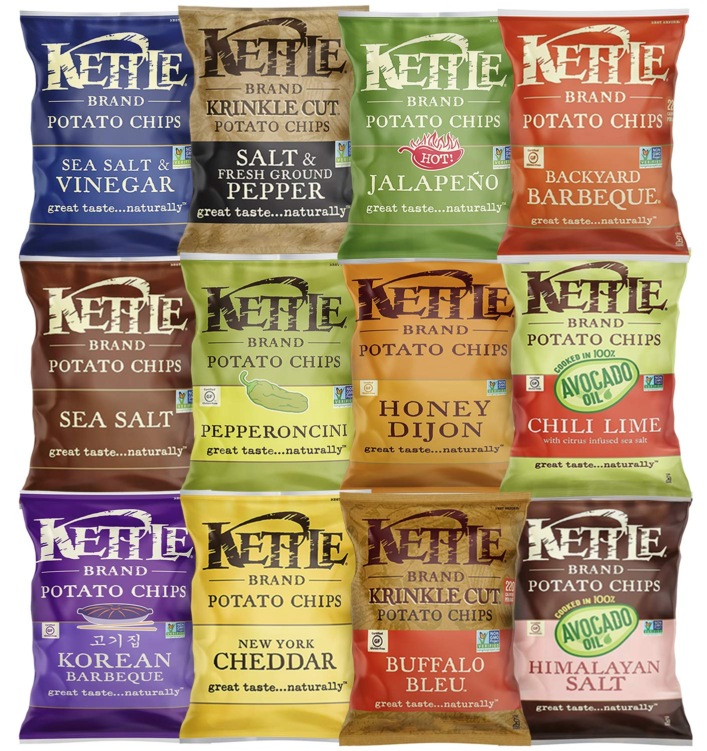 Kettle Brand Potato Chips, Individual Single Serve Bags, Many Different Flavors Sampler Variety Pack (12 Count) by Custom Varietea