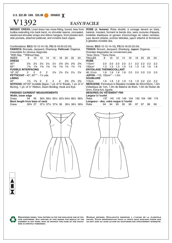 Vogue Patterns V1392 B5 - Patrones de costura para vestidos /(tallas ...